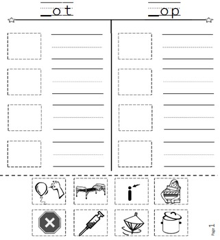 SMARTboard Short O Word Families Picture Sorting/Writing Self-Checking Center