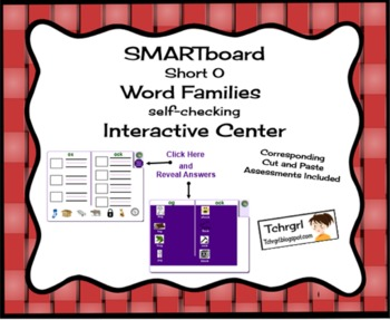 SMARTboard Short O Word Families Picture Sorting/Writing S