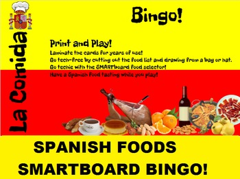 SMARTboard Spanish Vegetable Selector; Vocabulary, Language