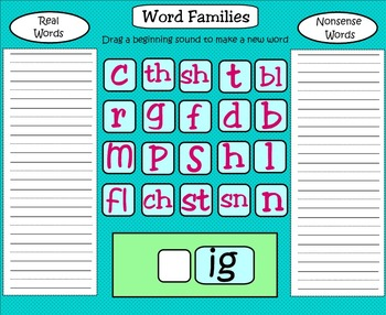 SMARTboard Word Family Building