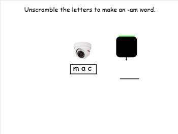 SMARTboard am word family