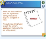 SMARTboard interactive lesson on author's point of view and fact vs. opinion