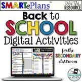 SMARTePlans Back to School Digital Activities (Secondary Classroom)