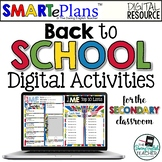 SMARTePlans Back to School Digital Activities (Secondary Classroom)