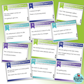 SMARTePlans Coordinating Conjunctions Task Cards for Secondary ELA