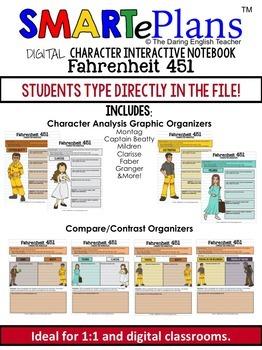 SMARTePlans Digital Fahrenheit 451 Character Analysis Interactive Notebook