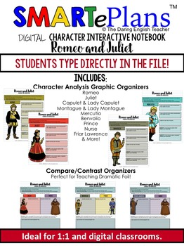 SMARTePlans Digital Romeo and Juliet Character Analysis Interactive Notebook