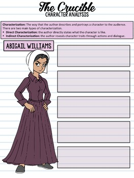 SMARTePlans Digital The Crucible Character Analysis Interactive Notebook