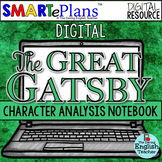 SMARTePlans Digital The Great Gatsby Character Analysis Interactive Notebook