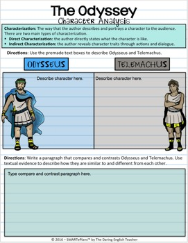 SMARTePlans Digital The Odyssey Character Analysis Interactive Notebook