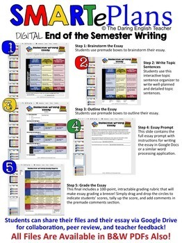 SMARTePlans Digital End of Semester Reflective Writing for Google Drive