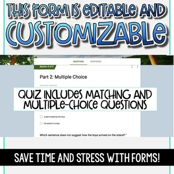 SMARTePlans Lord of the Flies Chapter 6 Quiz: Self-Grading Google Form