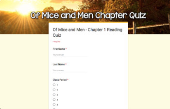SMARTePlans Of Mice and Men Chapter 1 Quiz: Self-Grading Google Form