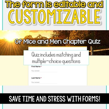 SMARTePlans Of Mice and Men Chapter 2 Quiz: Self-Grading Google Form