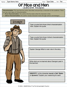 SMARTePlans Digital Of Mice and Men Character Analysis Interactive Notebook