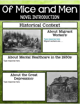 SMARTePlans Of Mice and Men Novel Introduction for Google Drive