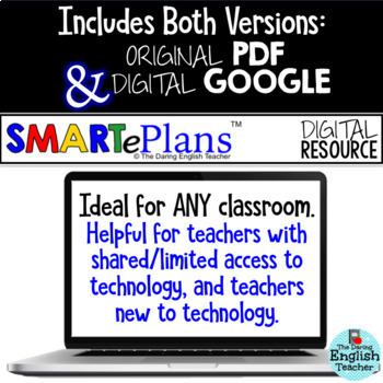 SMARTePlans Parts of Speech Task Cards (Digital Google & Traditional)