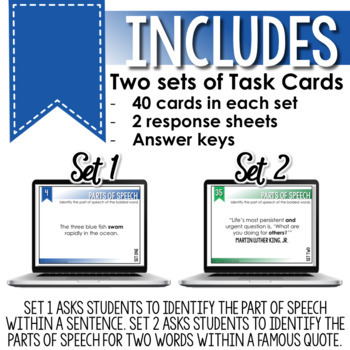 SMARTePlans Parts of Speech Task Cards for Secondary ELA (80 Task Cards)