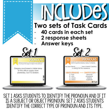 SMARTePlans Pronouns Task Cards for Secondary ELA (80 Task Cards)