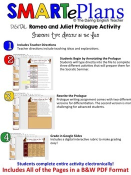 SMARTePlans Romeo and Juliet Prologue Activity for Google Drive