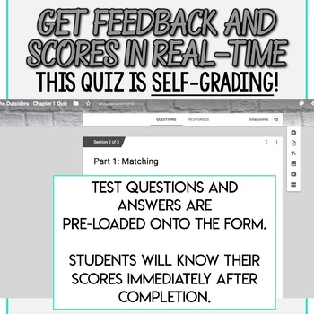 SMARTePlans Self-Grading The Outsiders Chapter Quizzes for Every Chapter