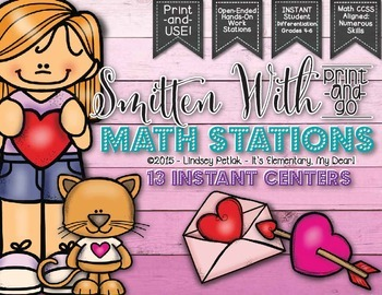 #weheart4k SMITTEN With Valentine's Day Print-and-Go Math Centers