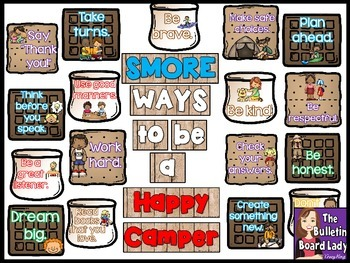 SMORE Ways to Be a Happy Camper Bulletin Board