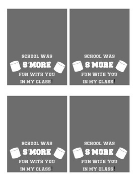 S'MORES End of the Year Treat Bag Tags