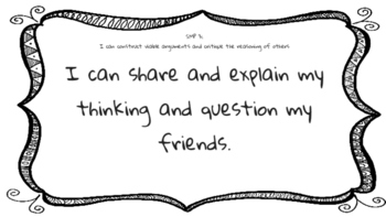 SMP Standard Math Practice I Can Statements
