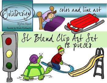 SL Blend Phonics Clip Art Set - Color and Line Art 12 pc set