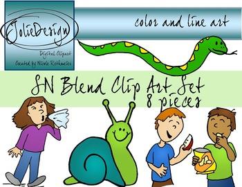 SN Blend Phonics Clip Art Set - Color and Line Art 8 pc set