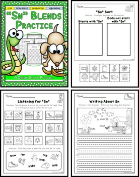 SN Blend Practice Printables Pack