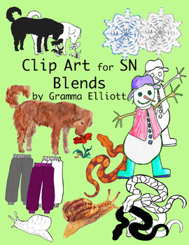 SN Blends Realistic Color and Black Line Clip Art