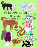SN Blends Realistic Color and Black Line Phonics Clip Art