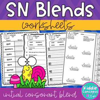 SN Blends Worksheets - Initial Consonant Blends