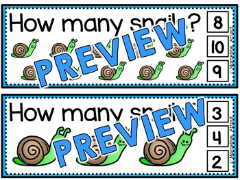 SPRING ACTIVITY PREK, PRESCHOOL (COUNTING SNAILS CLIP CARDS) NUMBERS 1-10 REVIEW