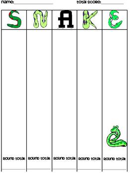 SNAKE Math Dice Game - Student Game Template