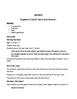 SNAKE Math Facts Game