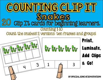 SNAKES Counting to 10 Clip It {A Beginning Work Task)