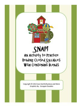 SNAP!  An Activity to Practice Reading Consonant Blends in