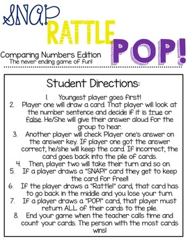 SNAP! RATTLE! POP! Comparing Numbers Edition