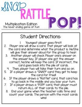 SNAP! RATTLE! POP! Multiplication Edition