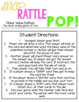 SNAP! RATTLE! POP! Place Value Edition