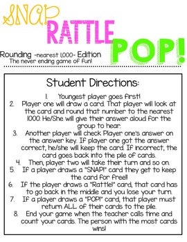 SNAP! RATTLE! POP! Rounding to the Nearest 1,000