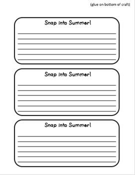 SNAP into Summer! A Writing Craftivity