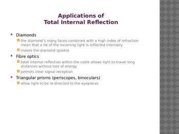SNC2P - Optics - Index of Refraction, Total Internal Reflection