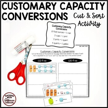 SNIP*SORT*STICK: Customary Capacity Conversions Cut and Sort Activity