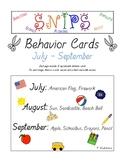 SNIPS Behavior Cards: July through September Themed