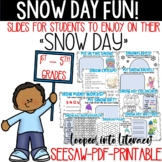 SNOW DAY FUN SEESAW PRINTABLE PDF DRAW WRITE UPLOAD PICTURES OF YOUR SNOW DAY!!!