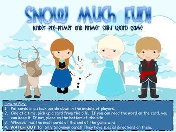 SNOW MUCH FUN! Kinder Pre-Primer/Primer Sight Word Game